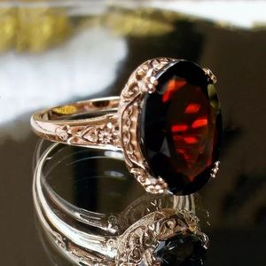 RED GOLD PLATED COCKTAIL RING
